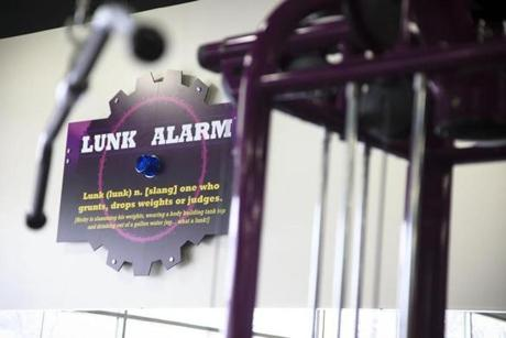 "The ""lunk alarm"" enforces the gym's rules."